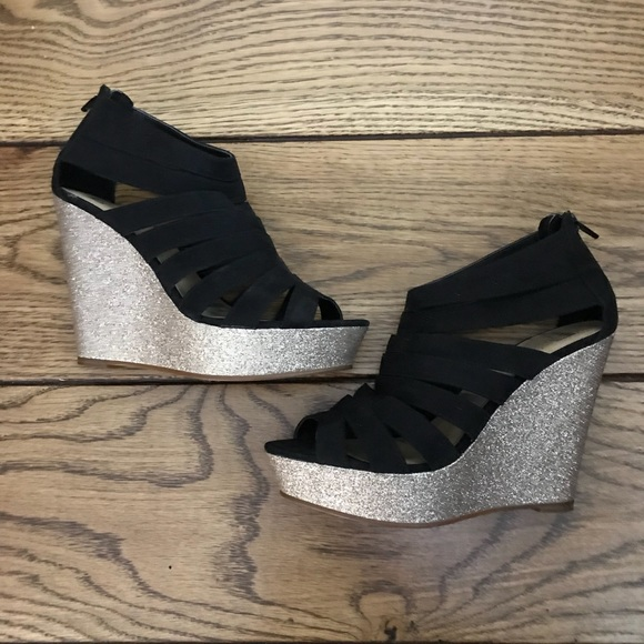 9731dd624723 Elle Shoes | Black With Gold Glitter Wedge Heel Euc | Poshmark